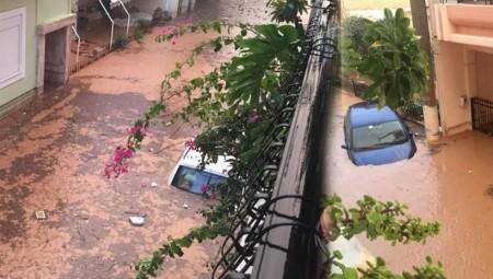 Πλημμύρες στο Μεγάλο Πεύκο - Εγκλωβισμένοι σε αυτοκίνητα και σπίτια