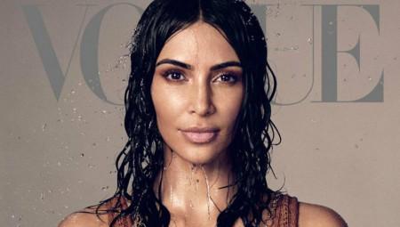 Η Κim Kardashian με διχτυωτό φόρεμα στο εξώφυλλο της Vogue