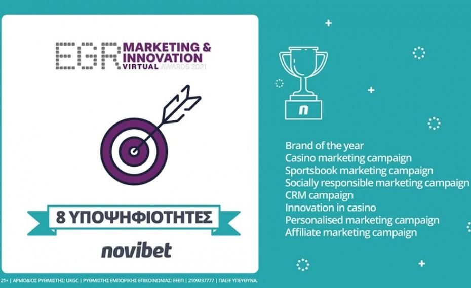 Novibet: Οκτώ Υποψηφιότητες στα  EGR Marketing & Innovation Awards 2021